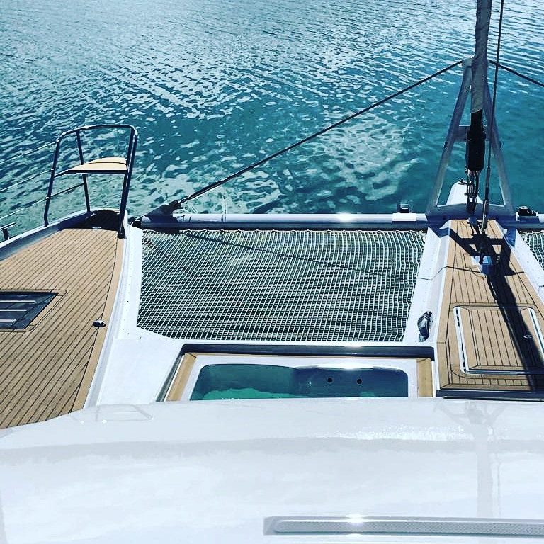 Fountaine Pajot Alegria 67 - flybridge view over jacuzzi