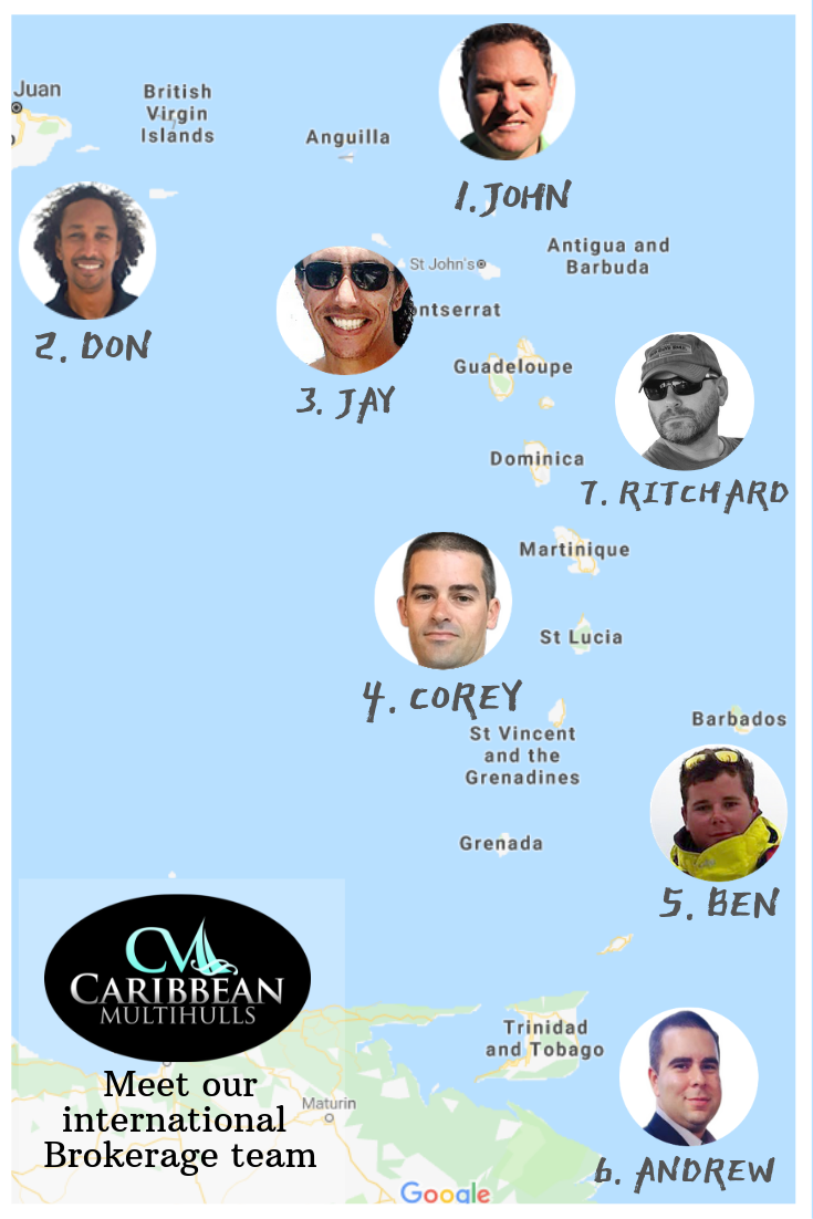 Caribbean Multihulls yacht brokerage team