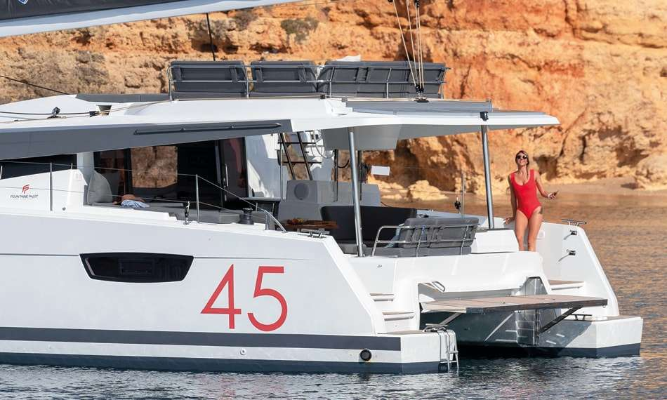 45 feet sailing catamaran by Fountaine Pajot - mooring