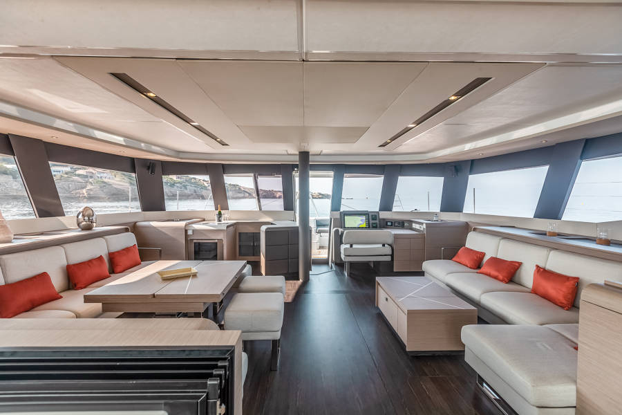 Interior spaces inside Fountaine Pajot New 59