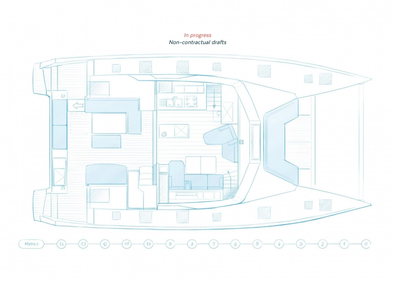 Main deck plan - Fountaine Pajot NEW 51 sailing catamarans in the Caribbean